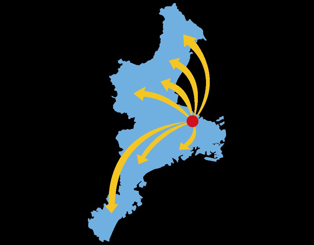 地元密着!県内一のネットワークで三重県全域をカバー!